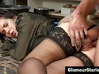 Nasty bitch in stockings pumped by the handyman